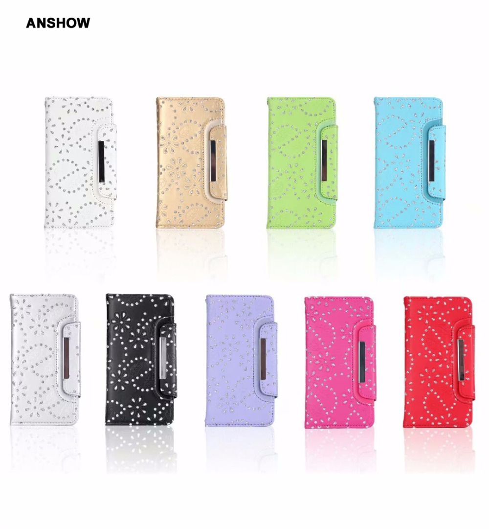 Bling Glitter Flower Wallet Leather Case For Iphone XR XS MAX X 10 8 7 6