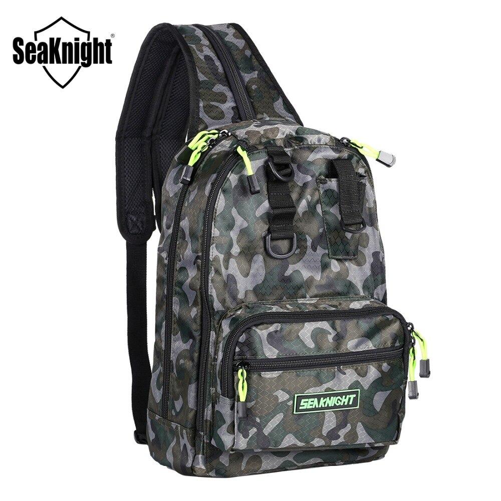 SeaKnight SK005 Waterproof Fishing Bag Multi-Purpose Backpack 4Layer 1000D Nylon Bag Outdoor Fishing Tackle Bag Camouflage/Black