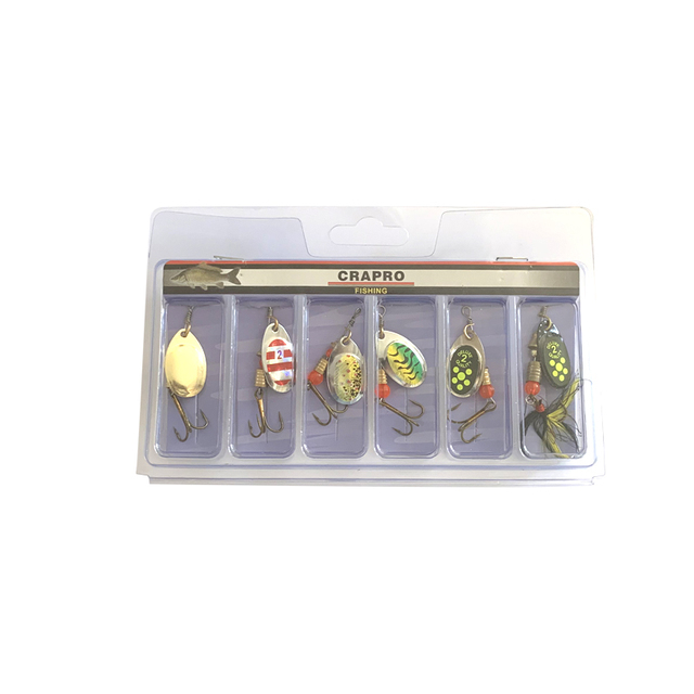 Oloey釣りルアー人工6個のボックススプーン魚ルアーは餌ルアールアースピナー
