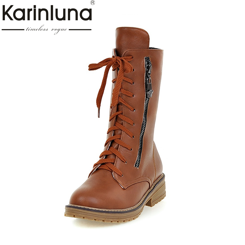 KARINLUNA 2017 Large Size 34-43 Platform Black Women Shoes Woman Lace Up Square Heels mid-calf Boots Winter Casual Bottine цены онлайн