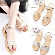 cda2089415f5e0 TESSFFEL Women Summer Sandals Peep-toe Low Shoes Roman Sandals Ladies Flip  Flops sandals flat Sequined golden silver size35-40