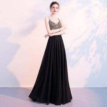 Elegent Evening Dress 2019 Chiffon Vestido De Festa Formal Dress Vintage Beading Evening Gown Prom Dresses Robe De Soiree