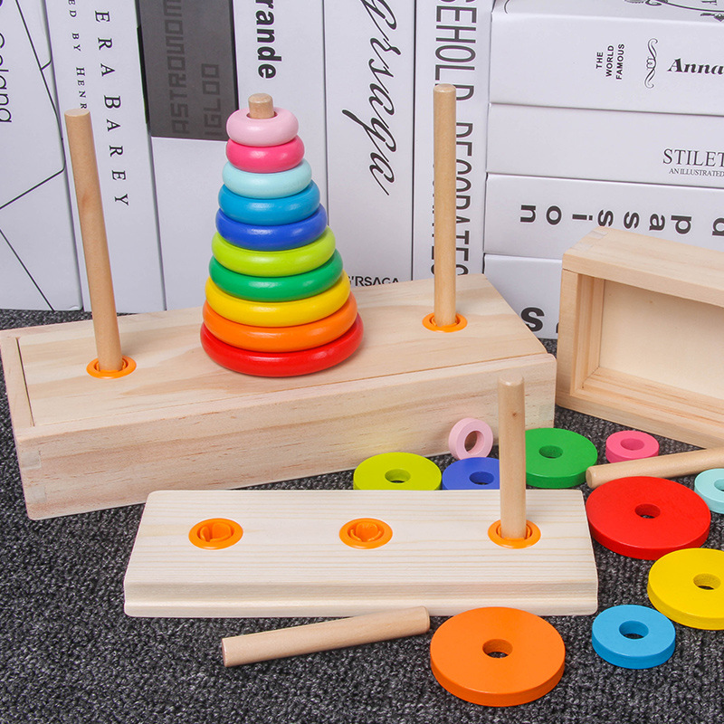 Tower Hanoi Is Derived From Myth Of India's Toy, Challenging Games Hanoi Tower, Wooden Toys Classic Desktop Game Kids Toy Blocks
