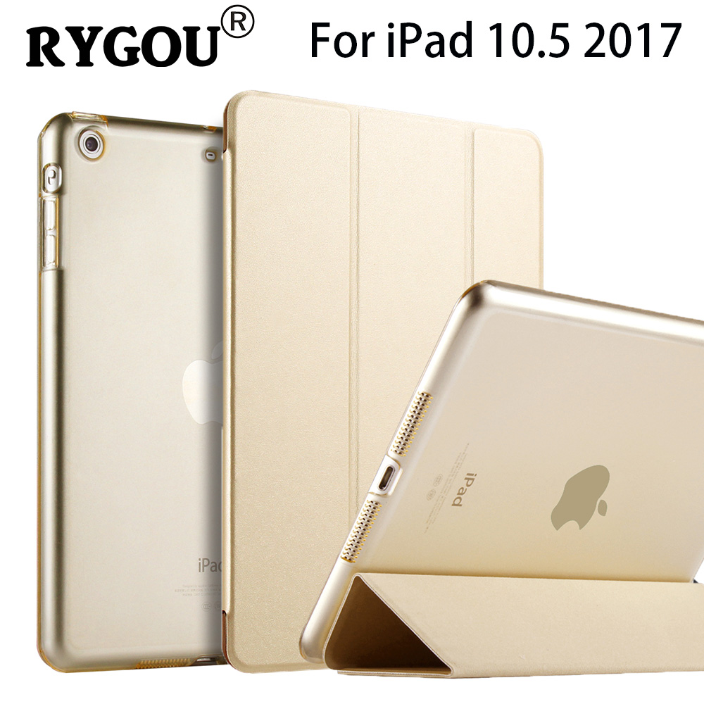 RYGOU Smart Case For iPad Pro 10.5 inch Flip PU Leather Cover For iPad Pro 10.5 2017 Tablet Protective Case Auto Wake up Sleep ctrinews flip case for ipad air 2 smart stand pu leather case for ipad air 2 tablet protective case wake up sleep cover coque