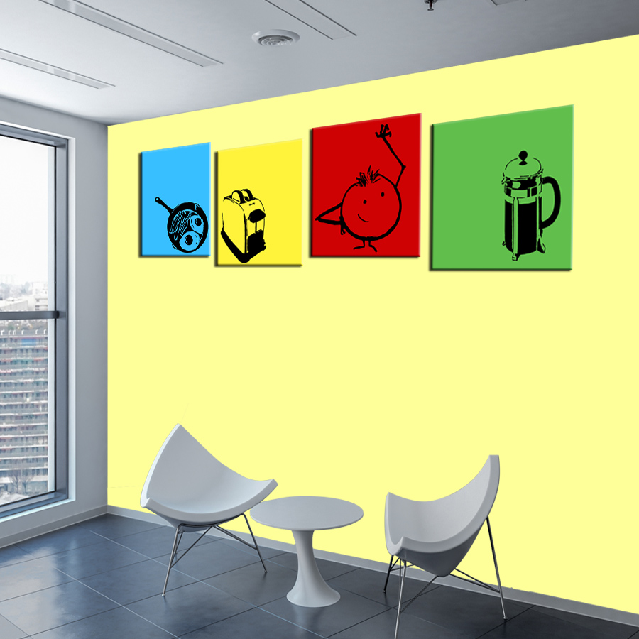 ShineHome 4pcs Wall Art Canvas Prints Modular Painting Cartoon Cafe ...