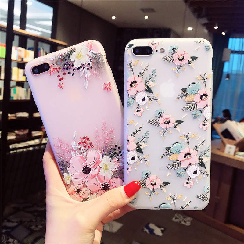 PPTANG Silicone Phone Case For IPhone XR X XS Max For IPhone 7 8 6S 6 Plus 3D Emboss Soft TPU Phone Cover Bags For 5 5S SE(China)
