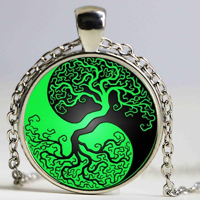 New Fashion style vintage green black tree of life Yin Yang Tai chi a mano  in vetro ciondolo choker dei monili della catena per donne 3f9f90419c9