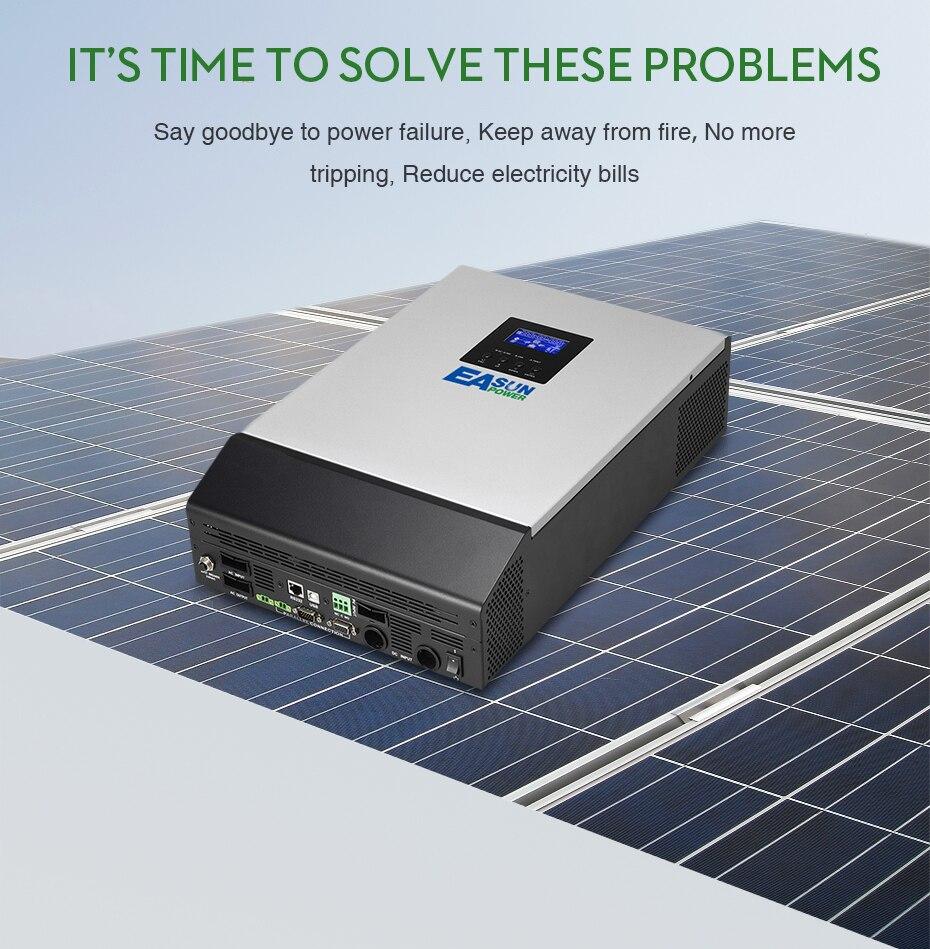 EASUN POWER 12V Solar Inverter 800W MPPT 1Kva Pure Sine Wave
