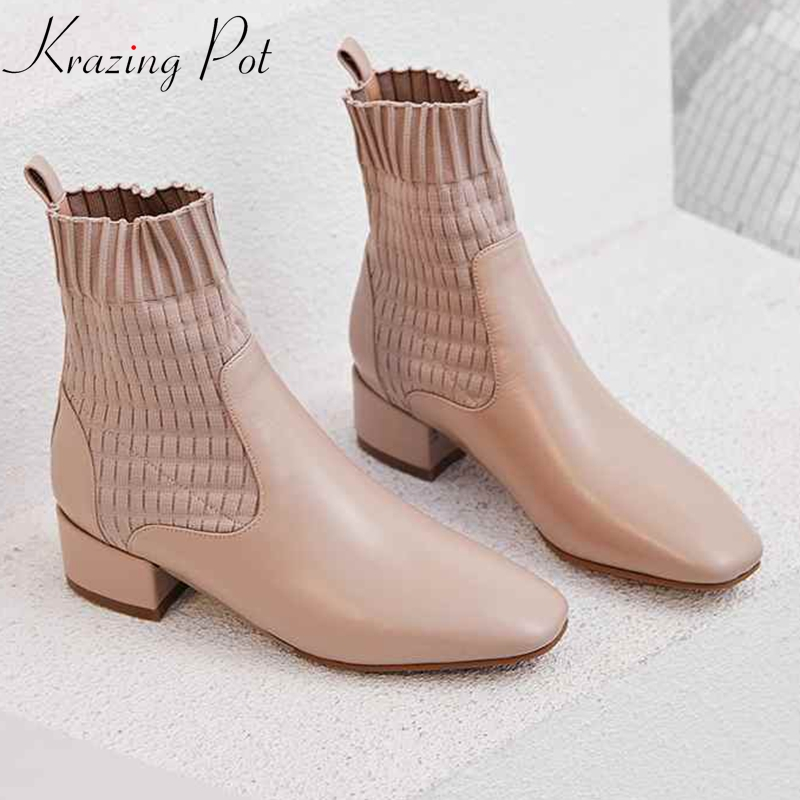 krazing pot genuine leather beauty lady art design med heels Winter round toe fashion runway stretch