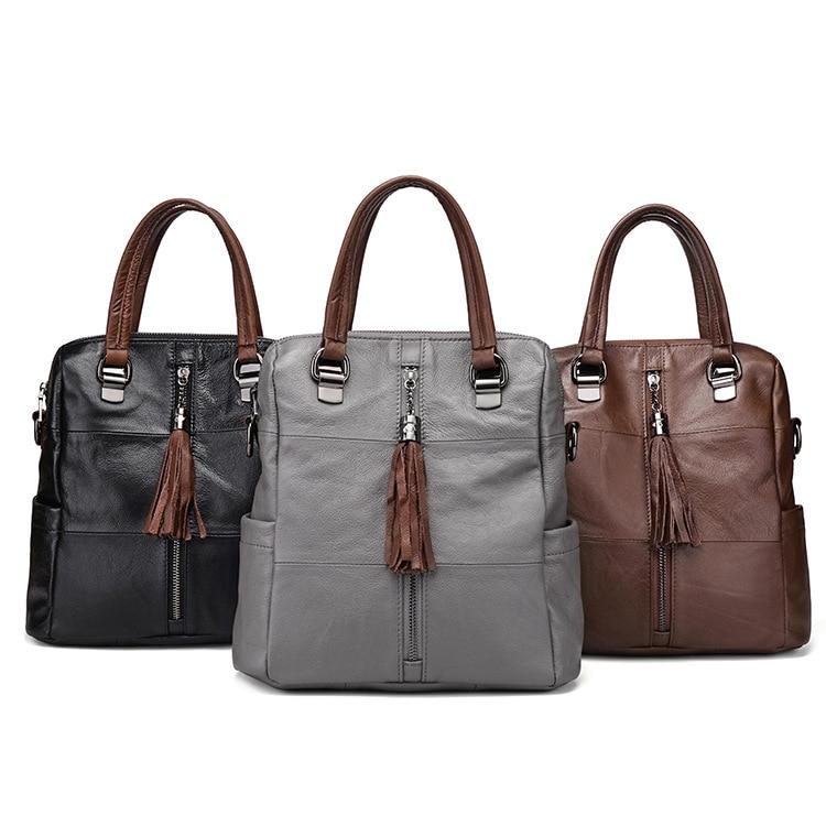 De brown Marque En Main Sacs Luxe À 2018 Black Conception grey Haute Multifonction Femmes Spéciale Célèbre Capacité Sac Cuir Véritable UOfnP