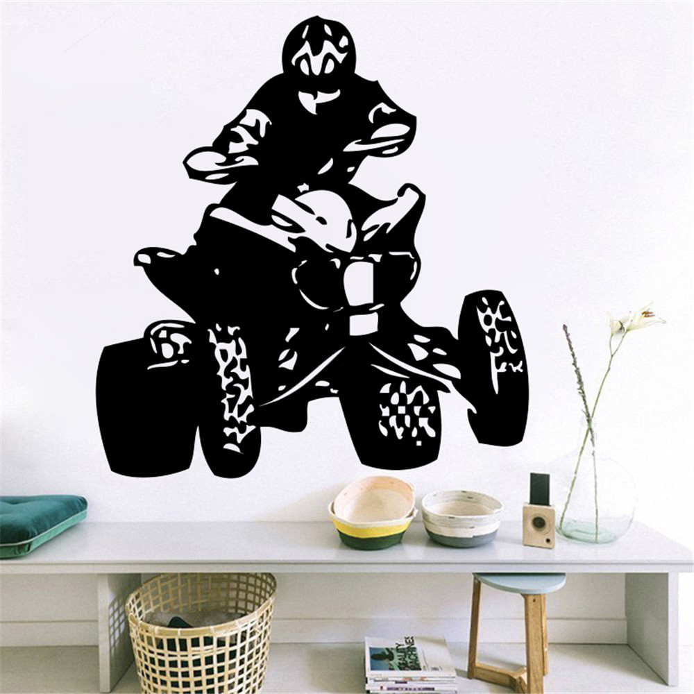 Bike stickers design online - Vinyl Wall Decal Sticker Bedroom Quad Bikes Cars Sport Championship Man Mural For Living Room Home