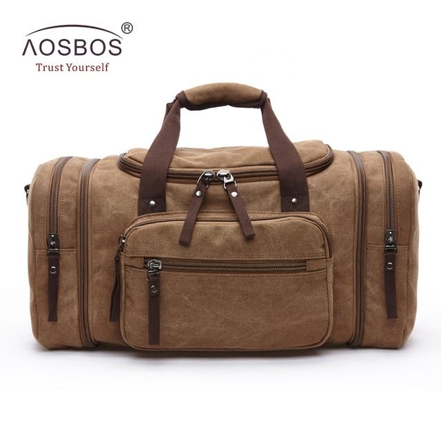 Aosbos Men Canvas Travel Bags Women Large Capacity Multifunctional Bucket Tote Designer Casual Trip Zipper Solid Shoulder Bags