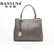 HANYUNA BRAND 2017 New Fashion European Cow Leather Women Handbags Genuine Leather Ladies Shoulder Bags Female