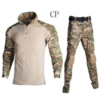 Military Uniform Tactical Combat Camouflage Shirt Tactical Camouflage Uniform Clothes Army Combat Shirt + Cargo Pants KneeHuntin loveslf tactical camouflage military uniform clothes suit men us army clothes military combat shirt cargo pants knee pads