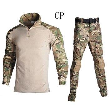 Uniforme militar de combate táctico camisa camuflaje táctico uniforme de camuflaje ropa de combate del ejército Camisa + Pantalones de carga KneeHuntin