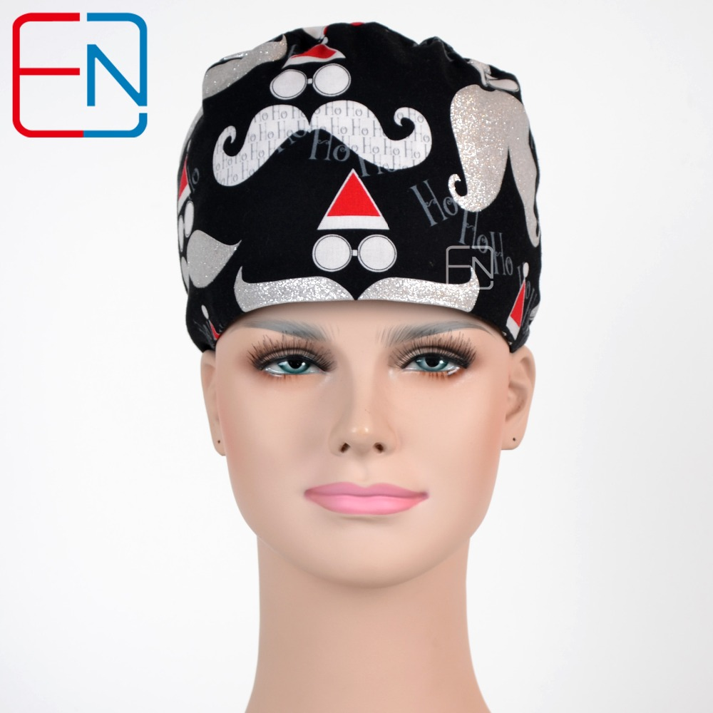 Hennar medical scrub caps in black with Santa Claus pattern in 100% cotton Pet
