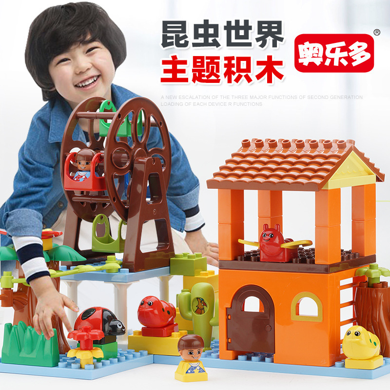 Insect World Big Particles Building Blocks Bricks Baby Toys for Children Compatible with Legoingly Duploe Diy Gifts bela 10524 vs 06032 ninjagoes chariot compatible small particles bricks toys diy model building blocks toys for children gifts