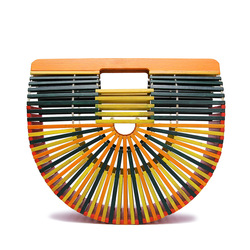 Bamboo top-handle bag female women handbag Summer holiday beach bag for ladies woven luxury designer small hollow 2019