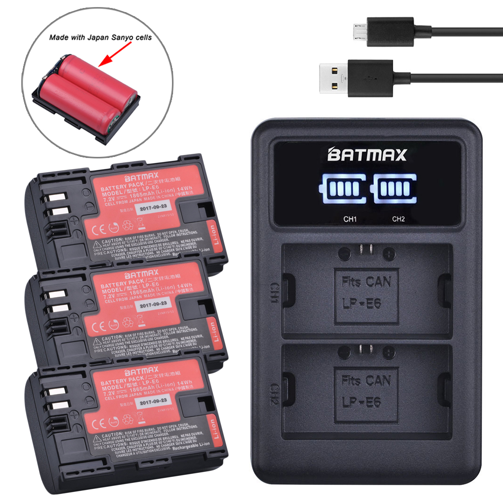 3pcs LP-E6 LP E6 Battery Japan Cells+ Dual Charger LED Display for Canon LP-E6,LP-E6N, EOS 80D,6D, 7D, 70D, 60D,5Ds,5D Mark fingerband lp 769 lp769