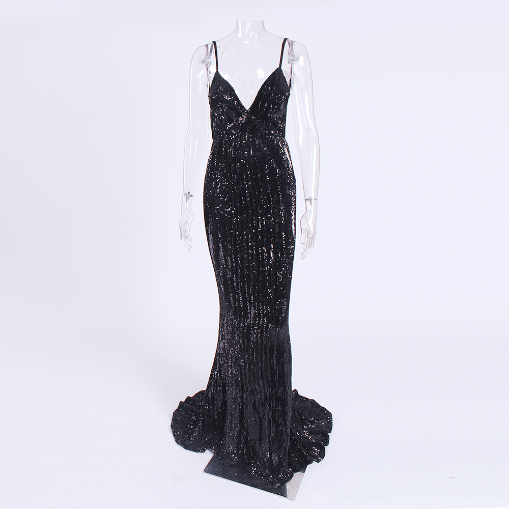 Sexy Stretch Silver Sequin Maxi Dress Hollow Out Floor Length Summer Party Dress Padded V Neck Backless Mermaid Dress 38