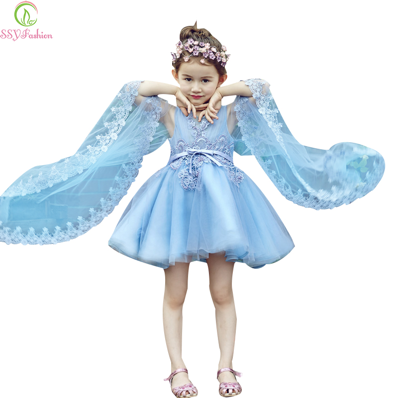 SSYFashion High-grade Short   Flower     Girl     Dresses   for Wedding Children Sky Blue Lace Embroidery Sleeveless with Shawl Party Gown