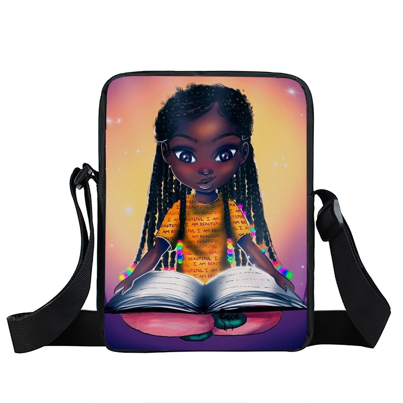 Afro Lady Girl messenger bag Africa Beauty Princess small shoulder bag brown women handbag mini totes teenager crossbody bags 39