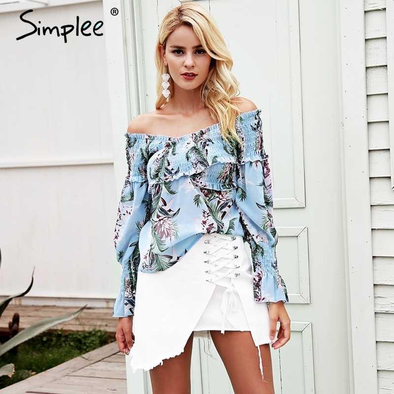 Женская блузка Simplee с открытыми плечами, женские шифоновые блузки с цветочным принтом, с рюшами крест-накрест, длинным рукавом-колоколом, летняя богемная блузка, рубашка