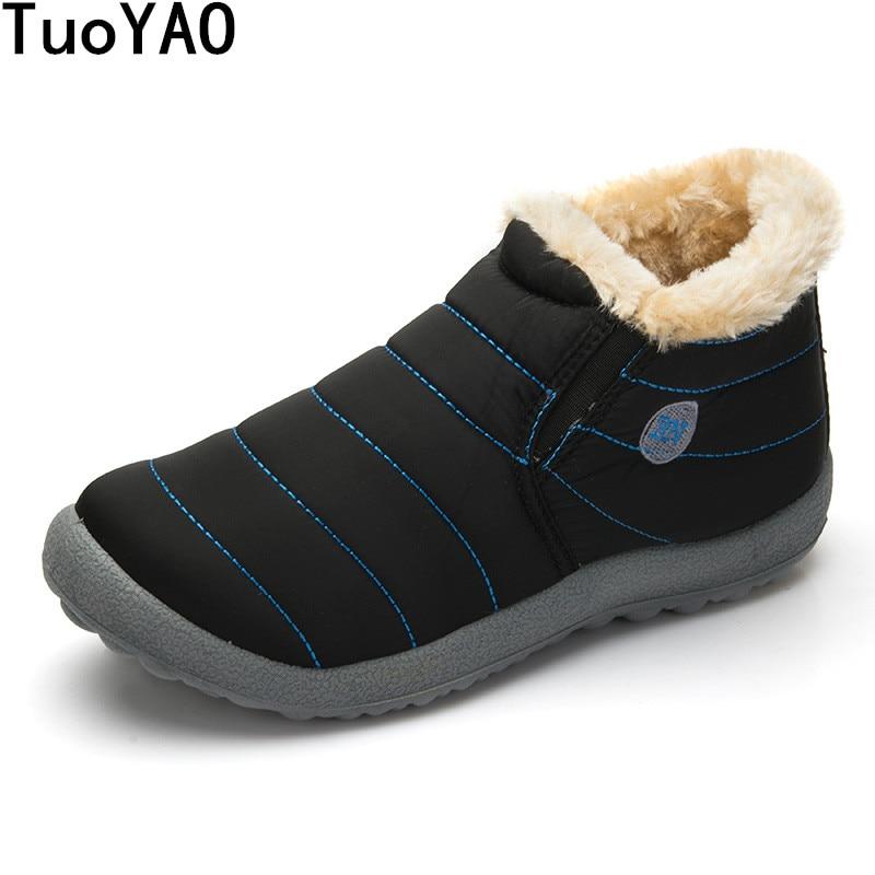 Winter Shoes Snow-Boots Waterproof New-Fashion Keep-Warm Men Cotton Solid Antiskid-Bottom