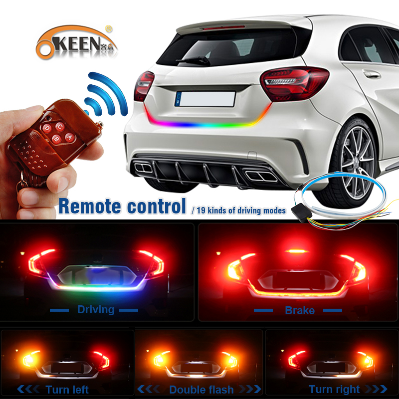 OKEEN Wireless Remote led trunk strip light RGB Yellow turn signal Undercarriage Floating Led Luggage tailgate led light 12V okeen 1 x120cm yellow red blue white led trunk dynamic led turn signal light strip flexible led drl led tailgate warnning light