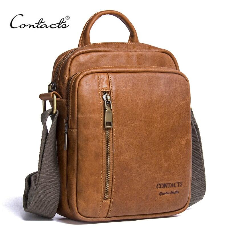 CONTACT'S Men's Genuine Cowhide Leather Shoulder Bag Quality Men Messenger Bags Causal Crossbody Handbag For Men Briefcase Bags
