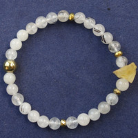 Wholesale 6mm Black Rutilated Quartz Round Beads Yellow Crystal Stretchy Bracelet 7 5 Inch SHX2231