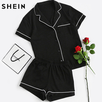 SheIn Contrast Piping Pocket Front Pajama Set Black Short Sleeve Lapel Top With Elastic Waist Shorts