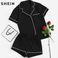 SHEIN Kontrast Piping Tasche Vorne Pyjama Set Schwarz Kurzarm Revers Top Mit Elastische Taille Shorts Frauen Zwei Stück Sets