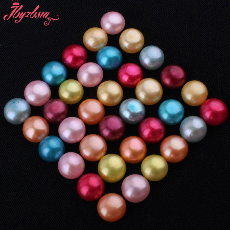 10mm Half Drilling Freshwater Pearl Beads Natural Stone Beads 1 Pair For Diy Earring Jewelry Making,wholesale Free Shipping Lustrous Beads & Jewelry Making Jewelry & Accessories