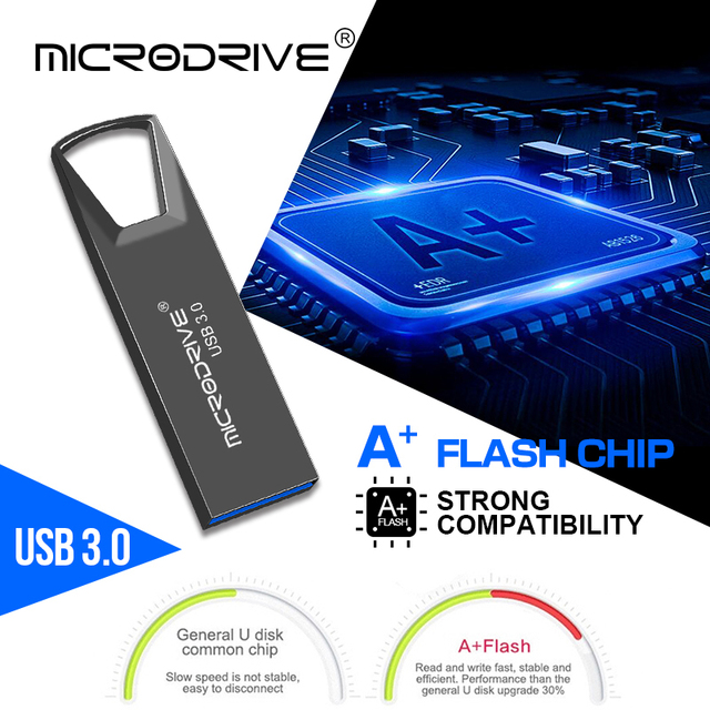 High Speed USB 3.0 Metal Flash Drive 16GB 32GB 64GB 128GB Pendrive Rotatable usb flash drive Pen memory Sticks with key chain 4
