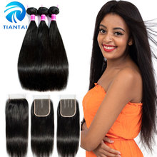 hot deal buy tiantai brazilian straight hair bundles with closure natural color 100% human hair bundles with closure 3 bundles with closure
