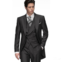 FOLOBE Custom Made Handmade 3PCS Dark Grey Men Slim Fits Suits Tuxedos Grooms Suits Long Wedding Suis Formal Dress Suits
