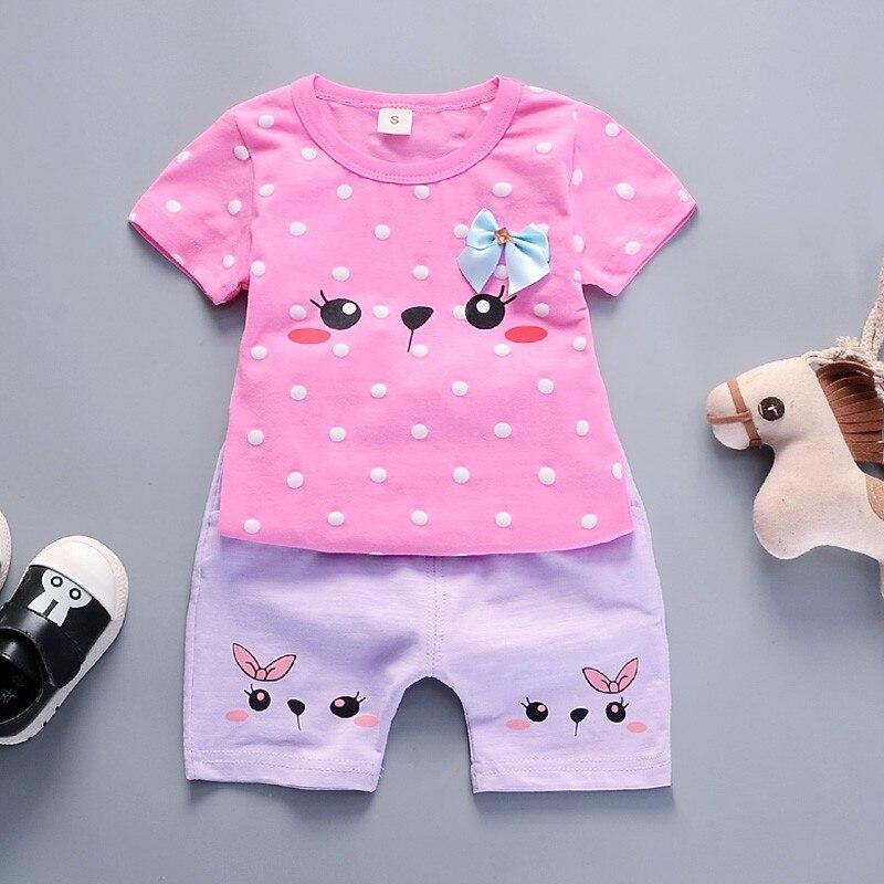 Baby Girl Clothes Set Cute Cat Printed T-shirt+short 2 pcs Set Cotton Baby Suit Infant Clothing Suit