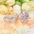 2016 nueva marca BWG joyería de la boda de plata rojo del cristal plateado anillos conjunto pendiente joyas para para S22