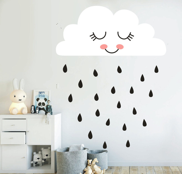 Cute Cloud Wall Decal Rain Cloud Face Wall Sticker For Kids Room Nursery  Decal Decor Living