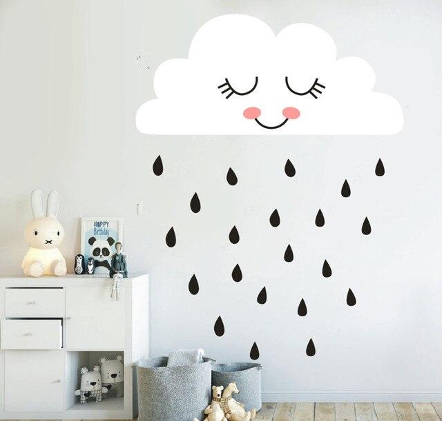 Mignon Nuage Mur Décalcomanie Pluie Nuage Visage Mur Autocollant Pour  Enfants Chambre Pépinière Décalcomanie Décor Salon