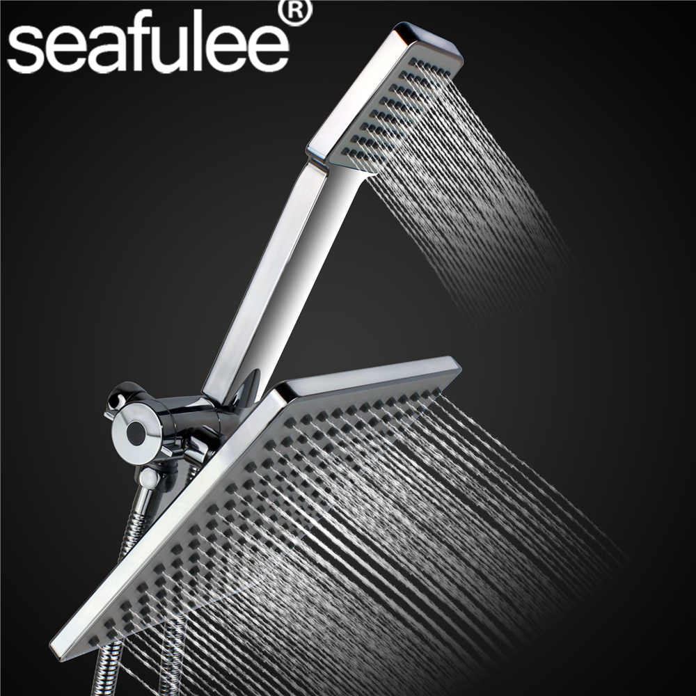 8 inches Square Rainfall Jet Shower Head Handheld Set Combo Chrome Finished stainless steel shower hose