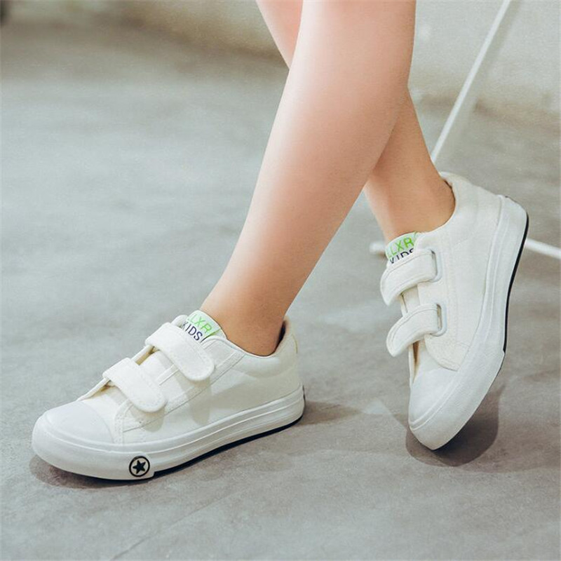 Kids Shoes For Girl Children Canvas Shoes Boys Candy Color Laces 2019 Spring Autumn White Sneakers Children Single Shoes Girls