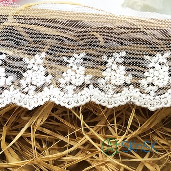 100 yards/lot 7cm White Cotton Lace Flower Embroidered Lace Trim Chemica Lace Fabric Braid Applique Crafts Doll DIY DHL