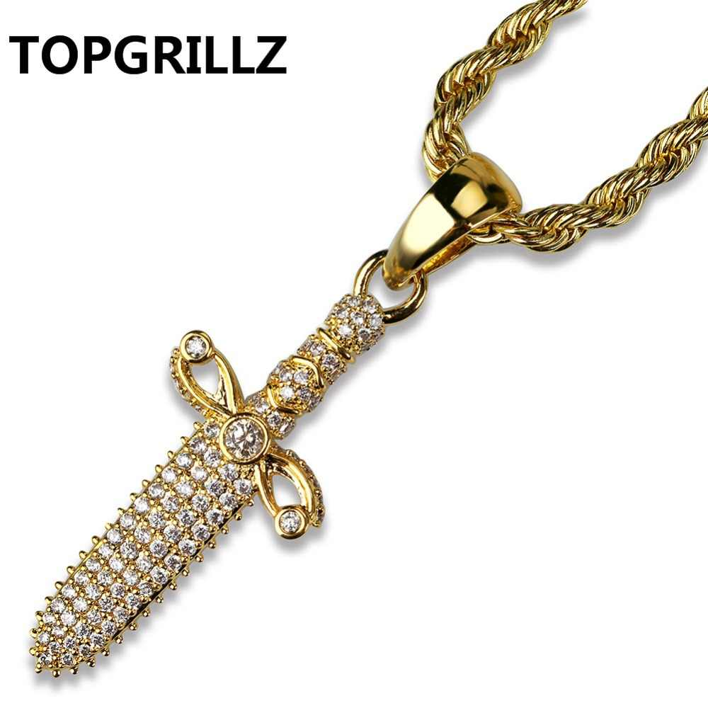 TOPGRILLZ Men's Hip Hop Jewelry Copper Gold Color Plated Cool Sword Pendant Necklace Micro Pave Zircon High Quality Party Gifts