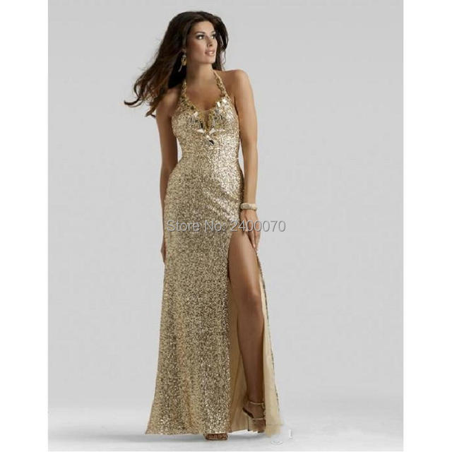 Modest Sequins Gold Prom Dresses Front High Split Beaded Halter ...