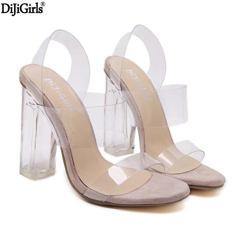 en ligne à la vente prix modéré sélectionner pour véritable € 19.96 27% de réduction|Chaussures d'été Femme Chaussure Femme Talon Sexy  sandales gladiateur transparentes Peep Toe chaussures talons clairs pour ...