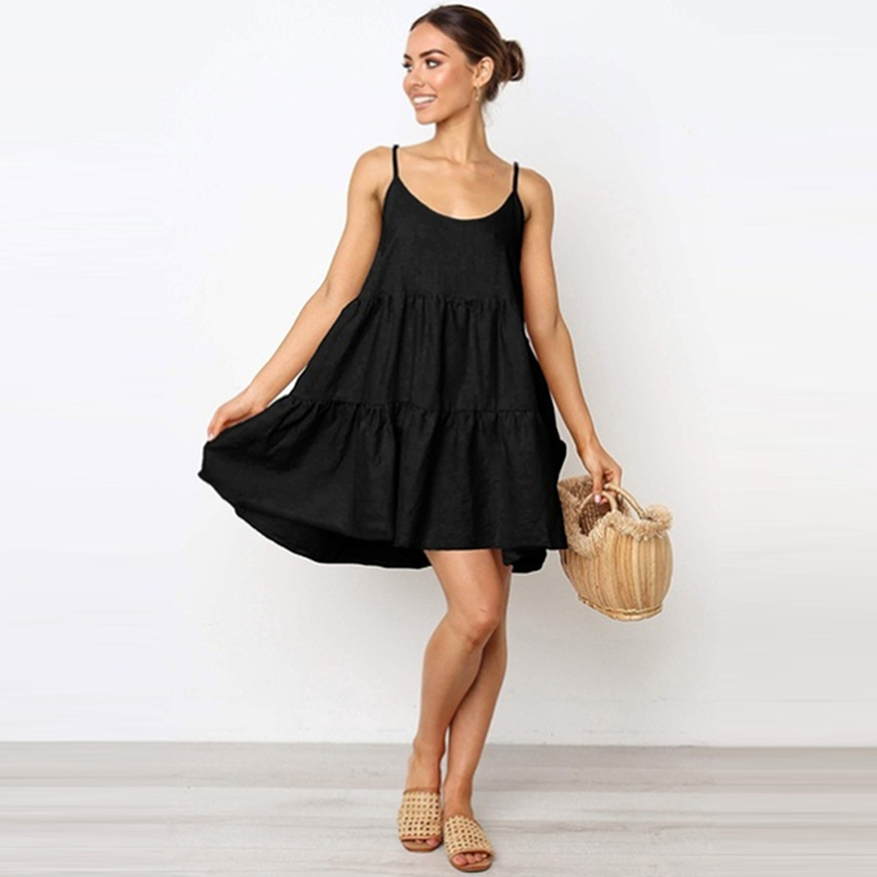 Women Casual Sleeveless Backless Bow Bandage Dress Loose Party Dress Sundress Sling Open Back Bow Tie Beach Dress