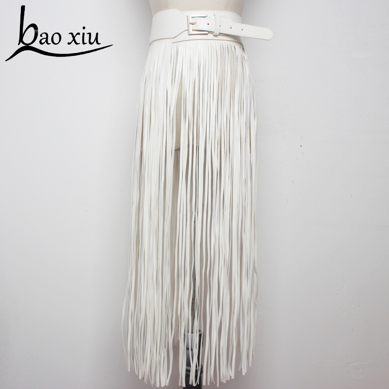 2019 Vintage Fantastic Long Fringe Belt Black Leather Designer Belts For Women Tassel Pin Buckle Corset Belt Trendy Bondage Belt