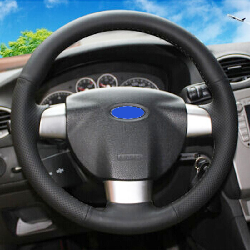 Dermis genuine Leather DIY car steering wheel cover for Ford Focus 2 Focus 3 Focus RS,Hand-stitched steering-wheel covers black  купити накладки спиннер на руль